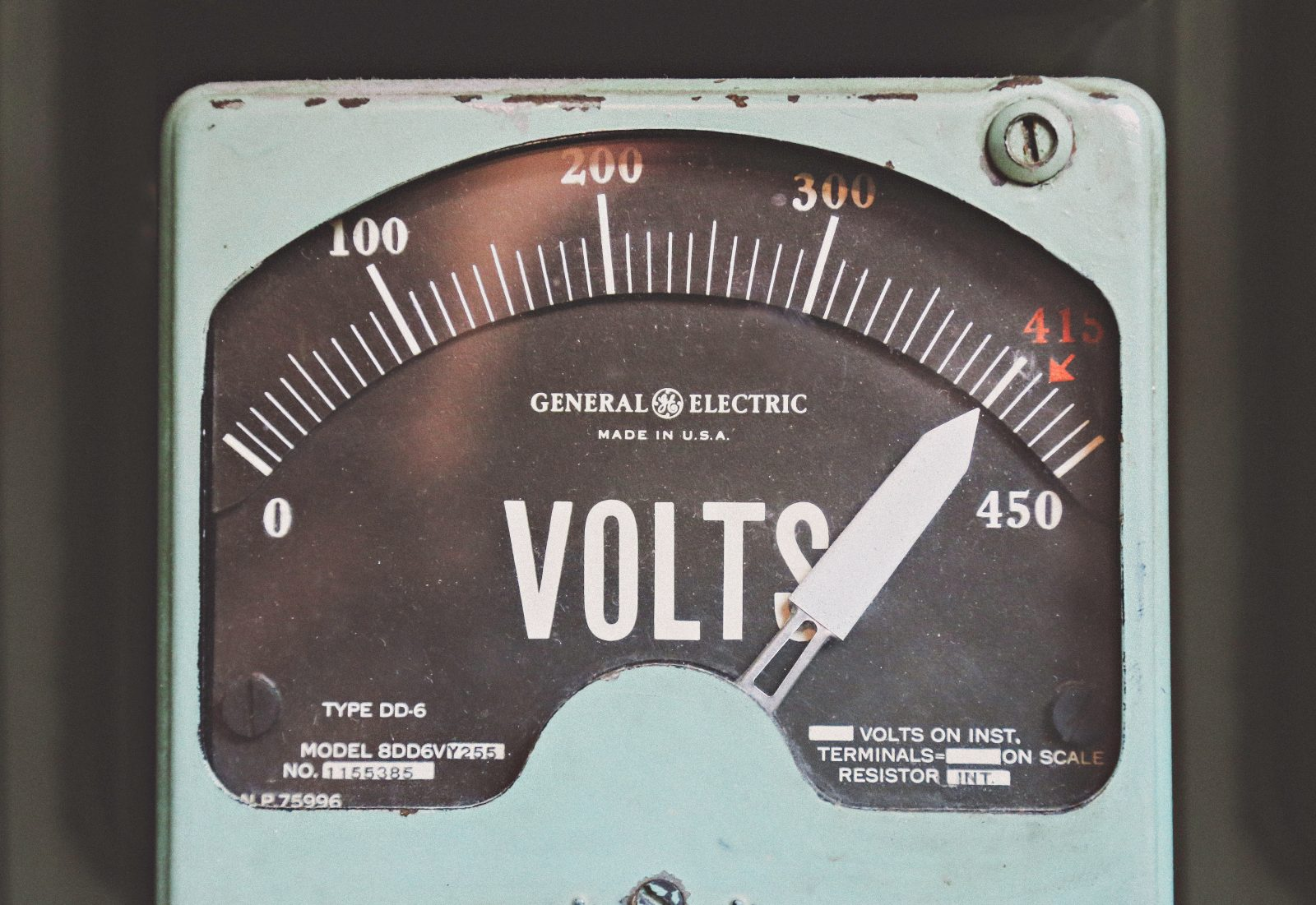Electricity meter pointing to high usage