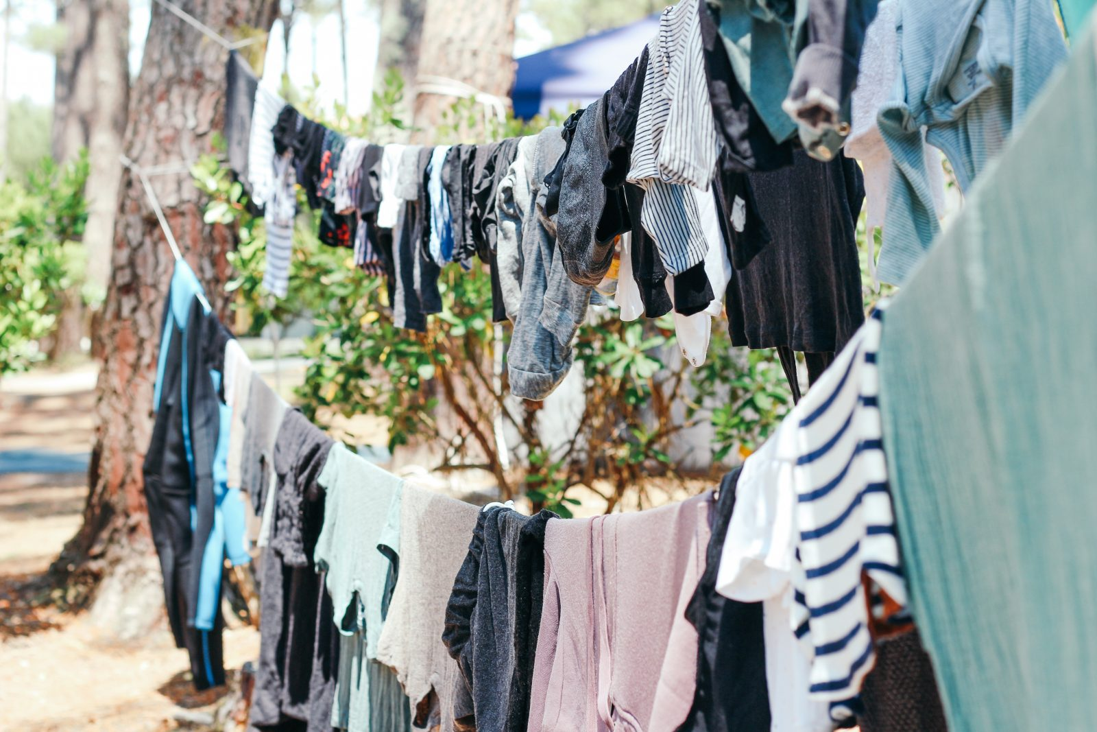 clothes hanging on a washing ine