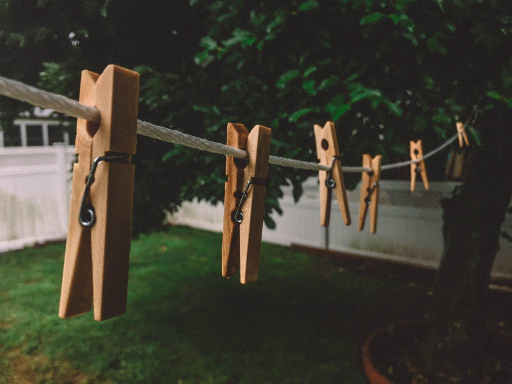 clothes pegs on a washing line