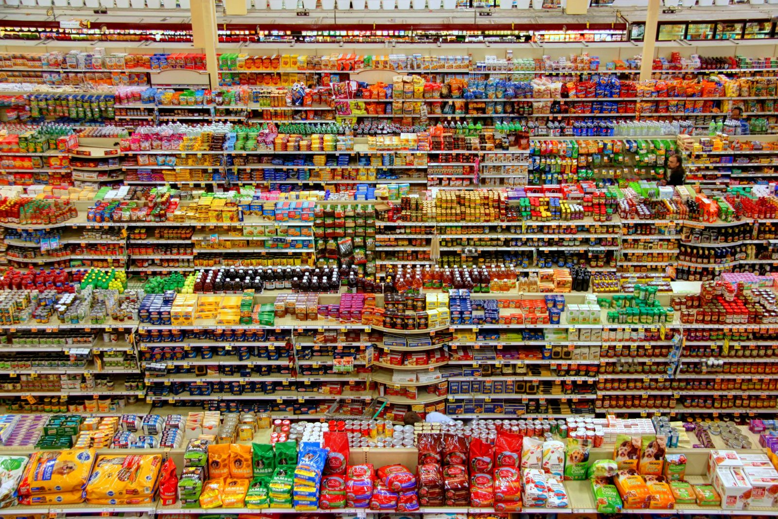 Rows and rows of food in a supermarket