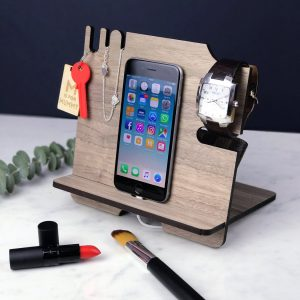 A beautiful wooden phone docking station, nightstand and desk tidy