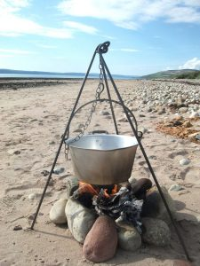 A steel tripod fire bracket - a great unusual gift idea for the lover of the outdoors in your life