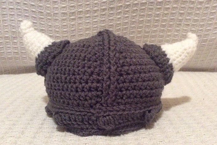 A photo of a crocheted Viking hat - a brilliant unique gift idea for 2018
