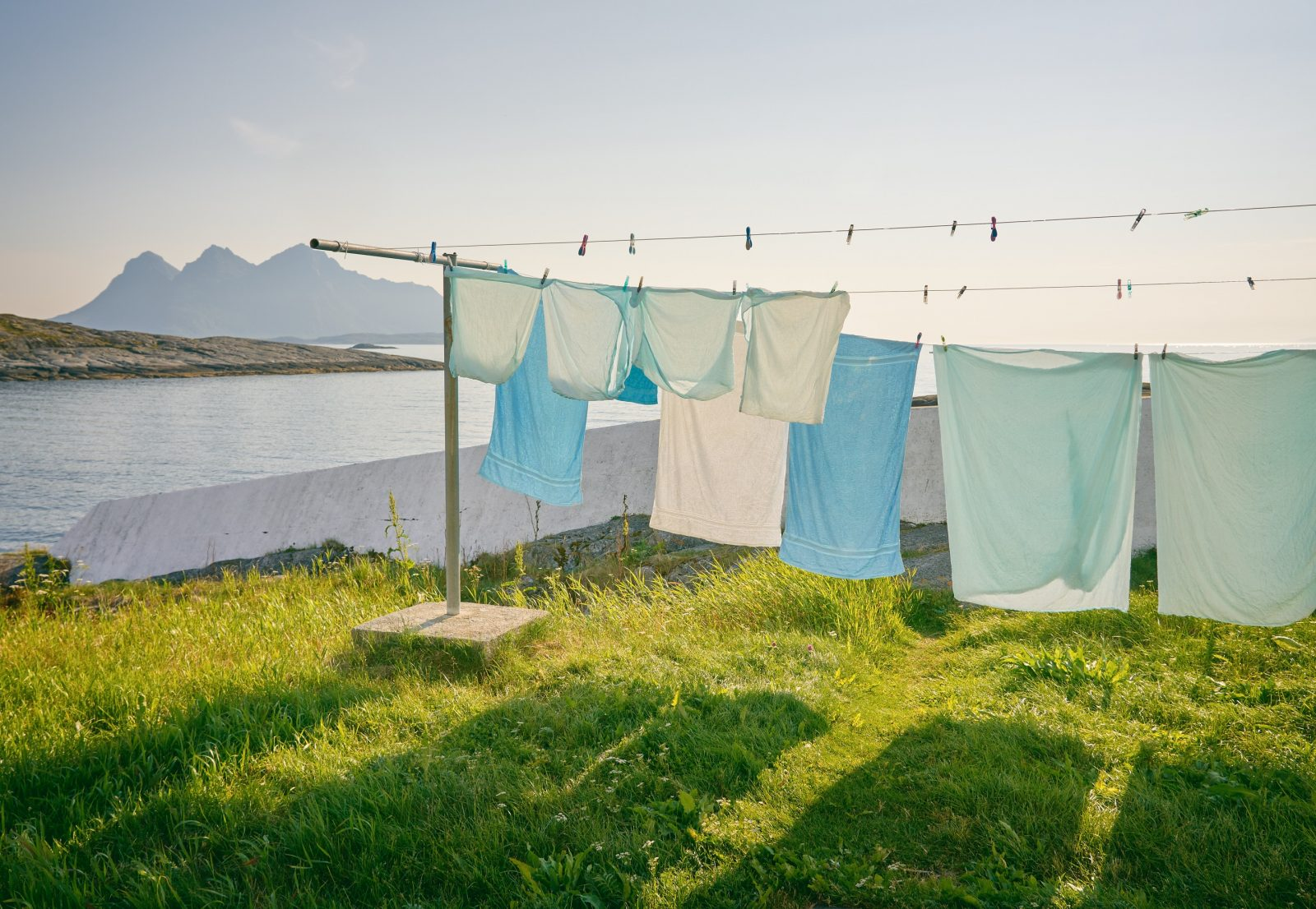 Clothes drying outside on a washing line