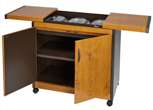 A heated hostess trolley: HL6232GO Connoisseur Heated Trolley Console in gold oak effect colours