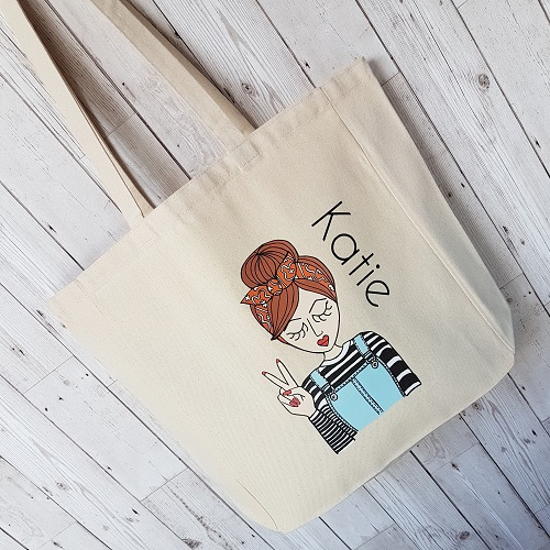 Personalised retro fashion tote bags - fully customisable