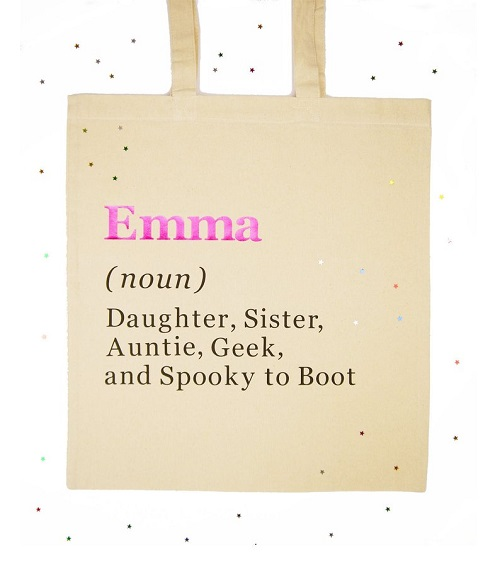 A personalised, plastic-free tote bag - a great party bag alternative