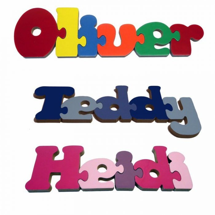 Personalised wooden name jigsaws - a great party bag or party favour gift