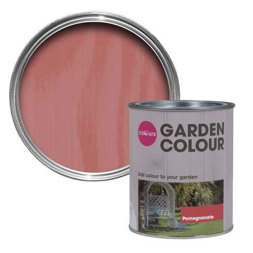 This pink shade of garden varnish or paint - called pomegranate - can really give your garden a splash of colour