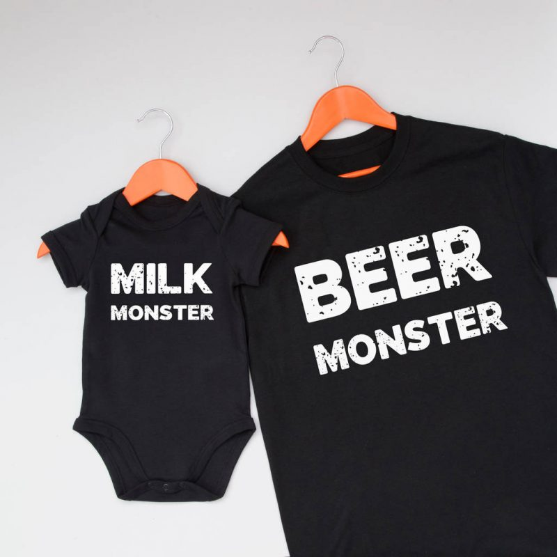 Matching beer and milk monster father and baby t-shirt set