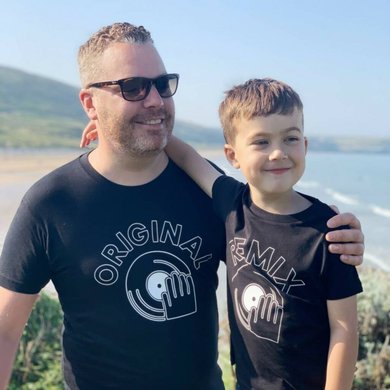 'Original' and 'remix' matching father and son t-shirt