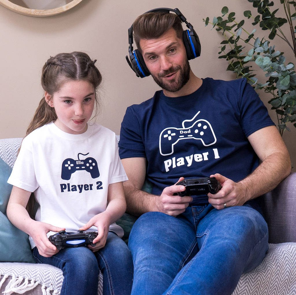 Personalised big gamer and little gamer t-shirt set