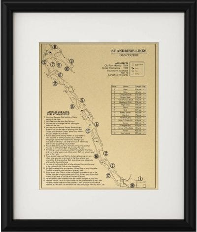 The Old Course with the Original 13 Rules of Golf Outline - gift