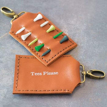 A beautiful, personalised leather golf tee holder - a great present idea
