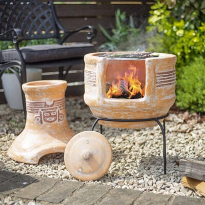 Two Piece Clay Chiminea with Grill for BBQs and pizzas